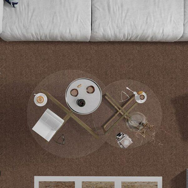 Ковролин Таркетт/Синтелон Драгон термо 11431 (коричневый) (в интерьере фото v2v1)