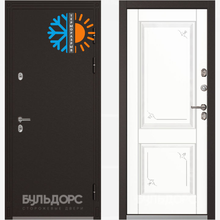 входная дверь бульдорс Termo 2 847мм 9502100r горячий шоколад кт белый Tb 32